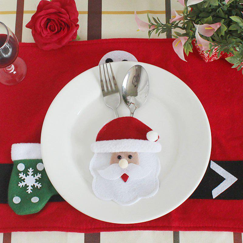 Santa Claus Pattern Knives And Forks Tableware Bag - RED/WHITE