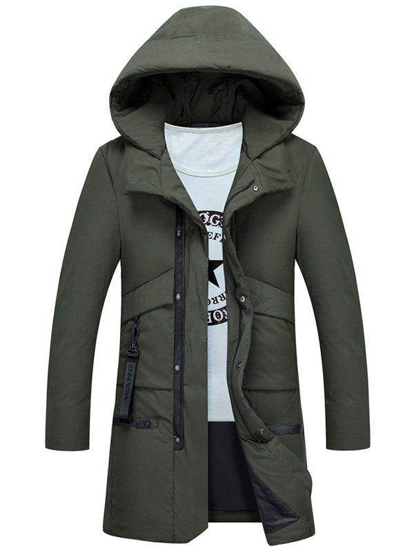Zipper Up Multi Pockets Hooded Puffer Coat - ARMY GREEN XL