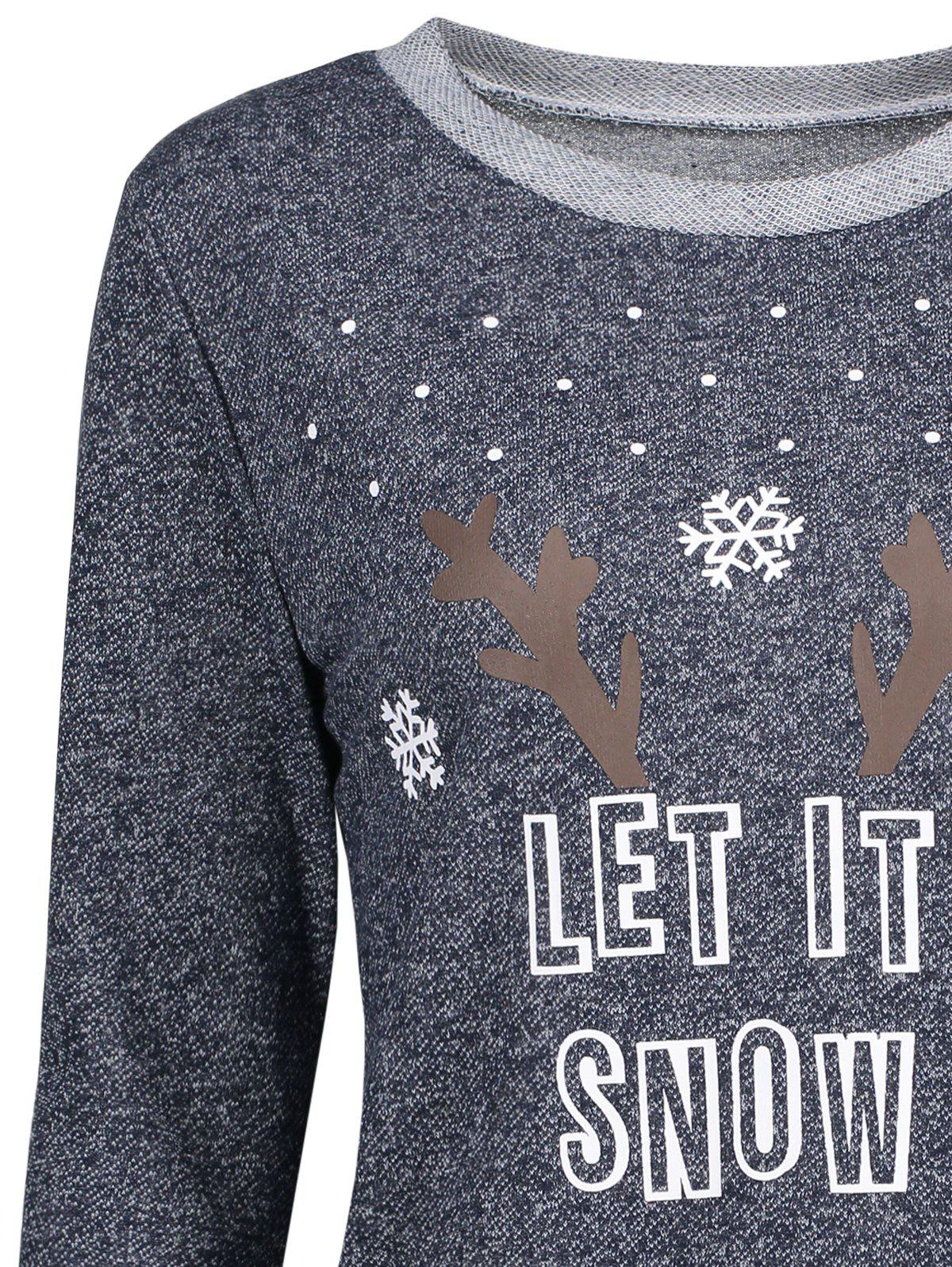 Christmas Let It Snow Elk Snowflake Patterned Blouse - DEEP GRAY M