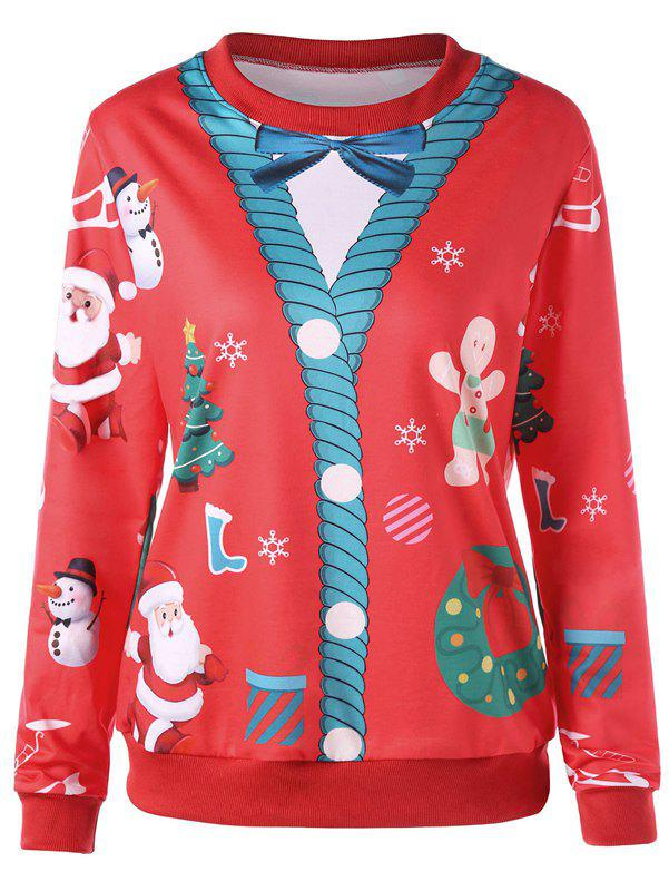 Christmas Print Crew Neck Pullover Sweatshirt - RED 2XL