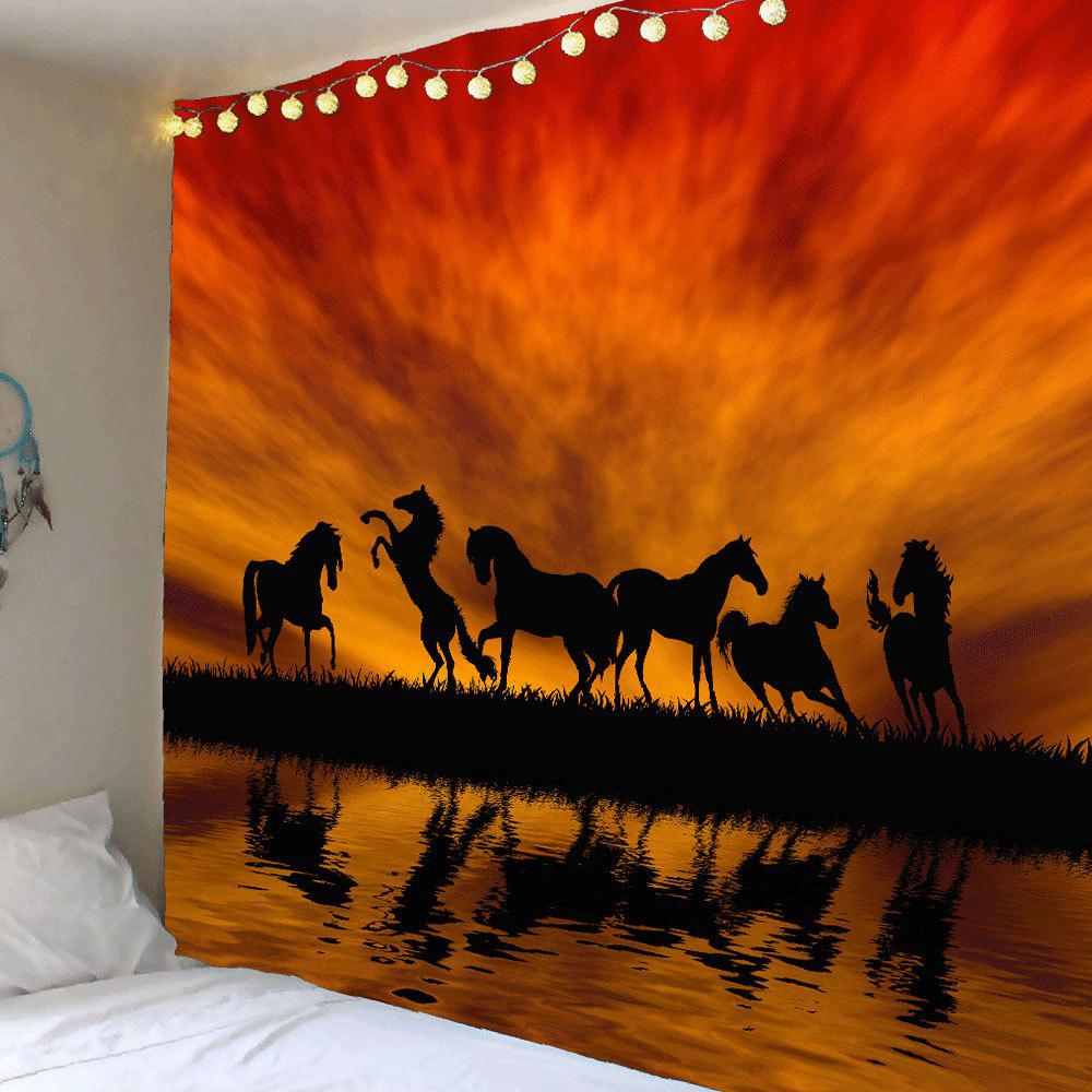 Sunset Glow Horses Patterned Wall Art Tapestry horses
