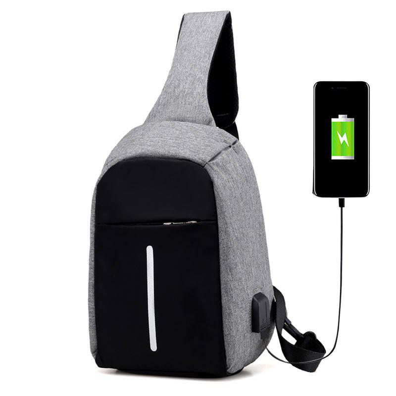 USB Charging Port Line Chest Bag - GRAY
