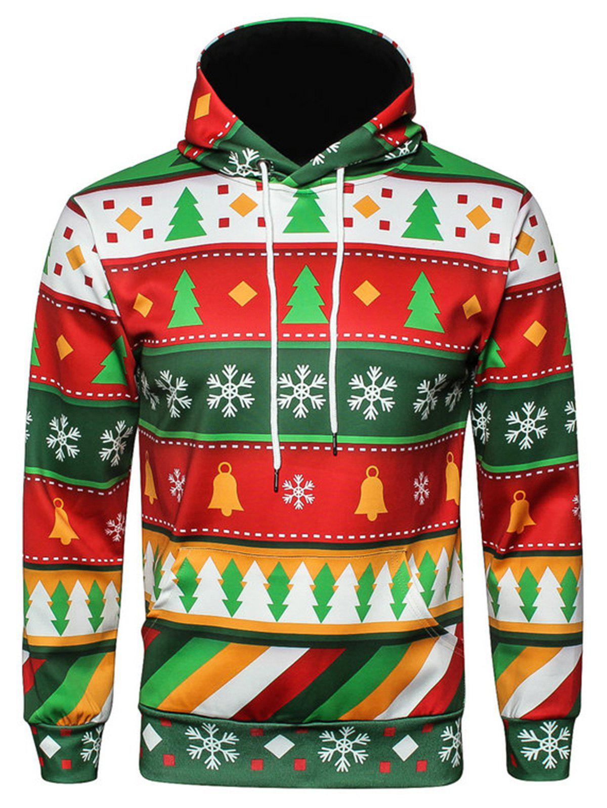 Sweat à Capuche Pull-over de Noël Flocon de Neige Imprimé Géométrique - multicolore 2XL