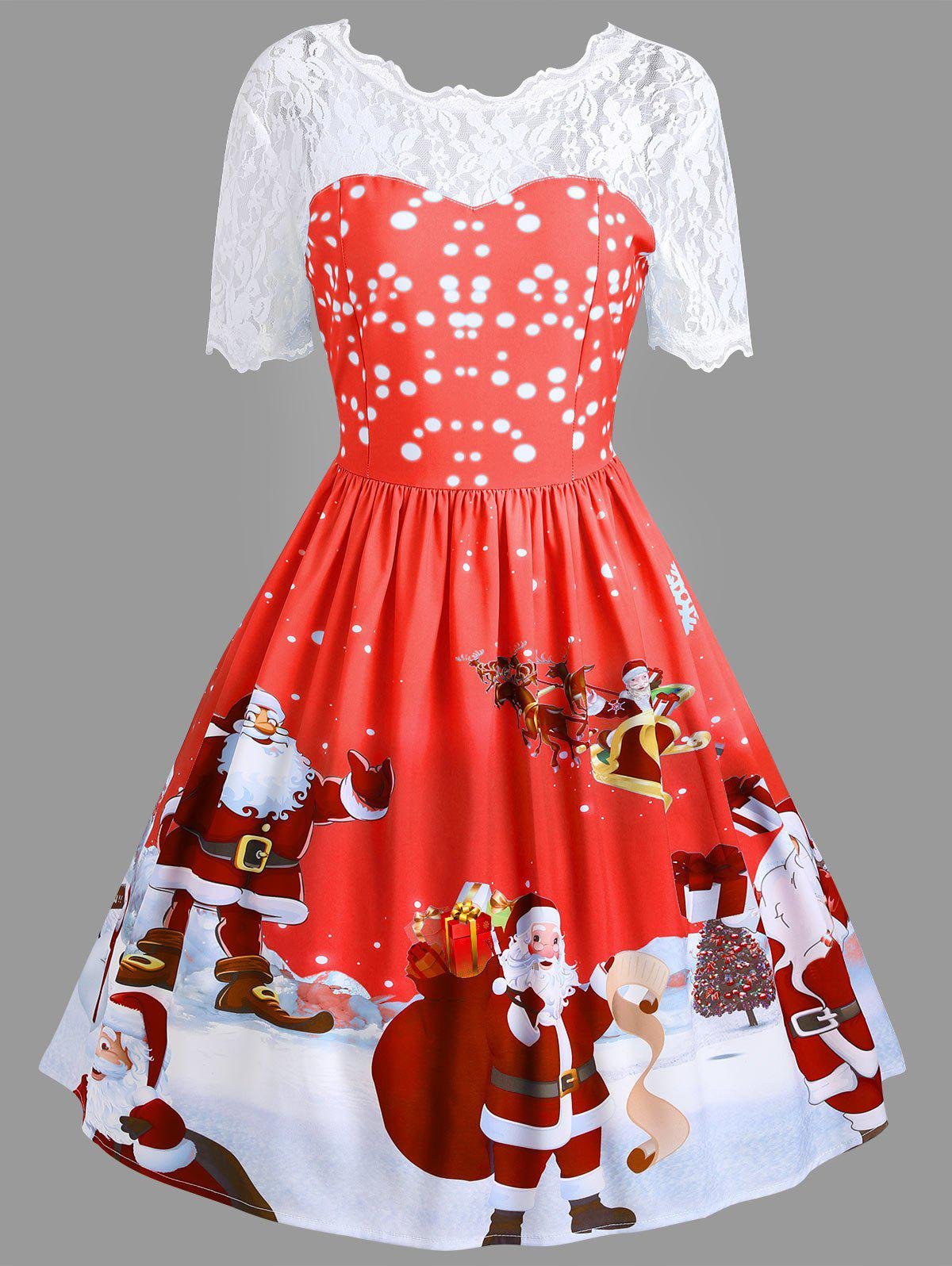 Vintage Christmas Santa Claus Print Lace Insert Dress - RED M