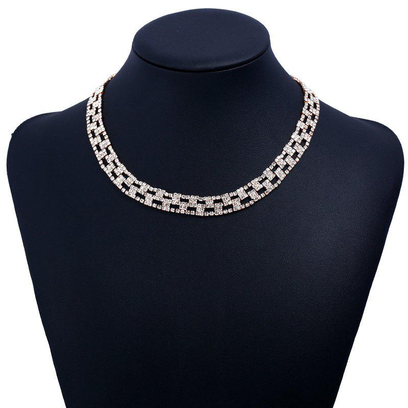 Rhinestoned Alloy Geometric Necklace - GOLDEN