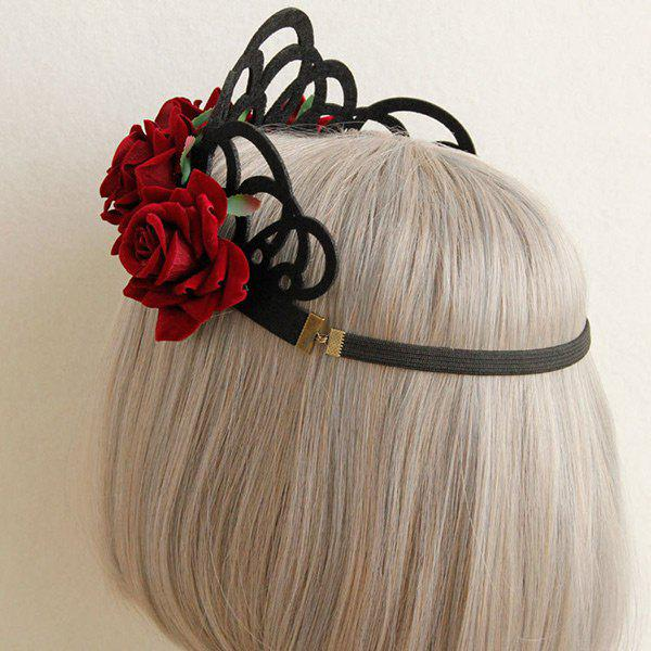 Gothic Elastic Crown Flower Hairband - RED