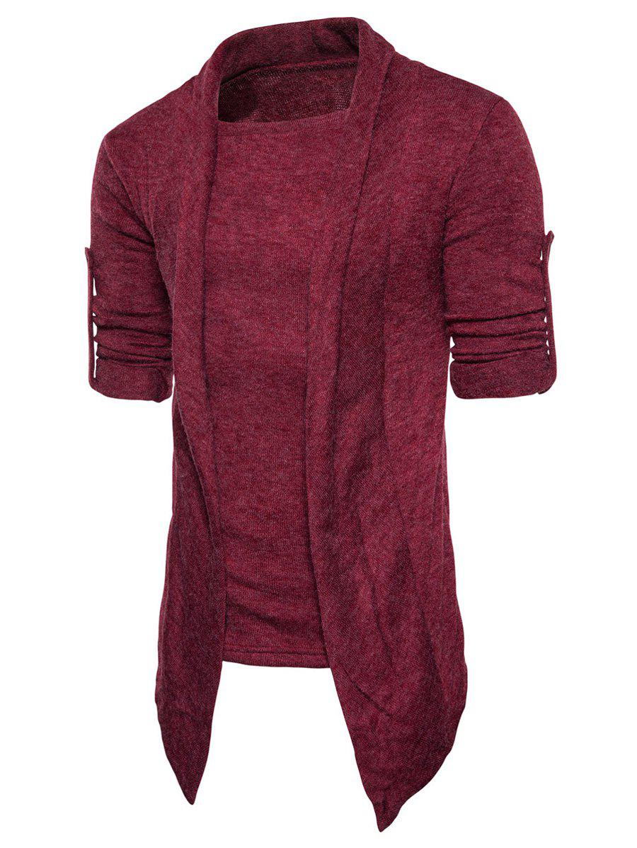 Faux Twinset Panel Knitted Asymmetric Cardigan - WINE RED L
