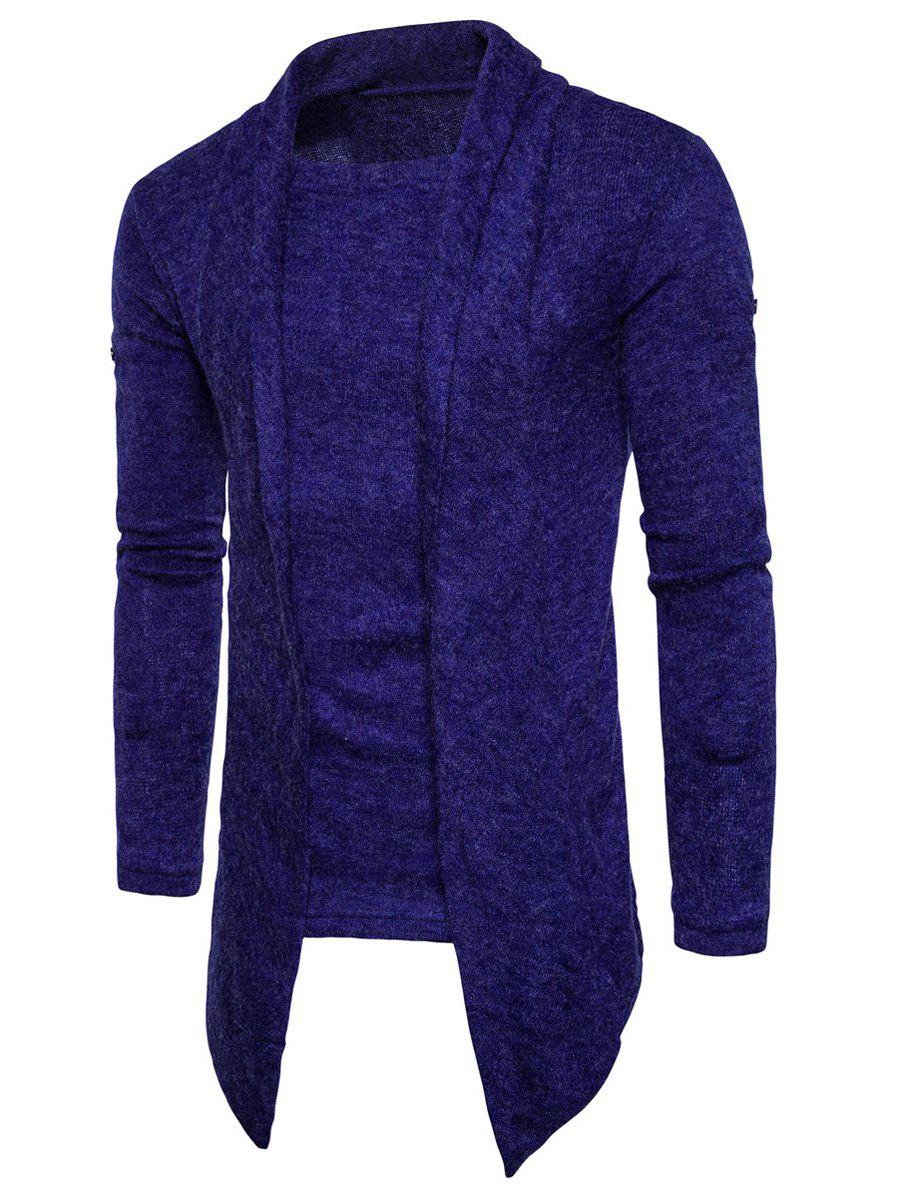 Faux Twinset Panel Knitted Asymmetric Cardigan - ROYAL L