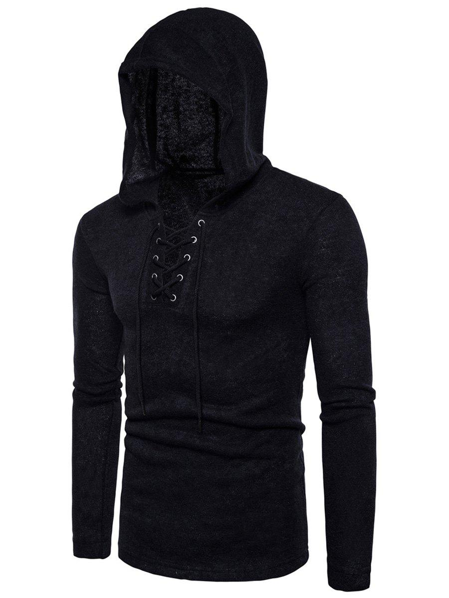 Hooded Lace Up Knitted Pullover Sweater - BLACK M