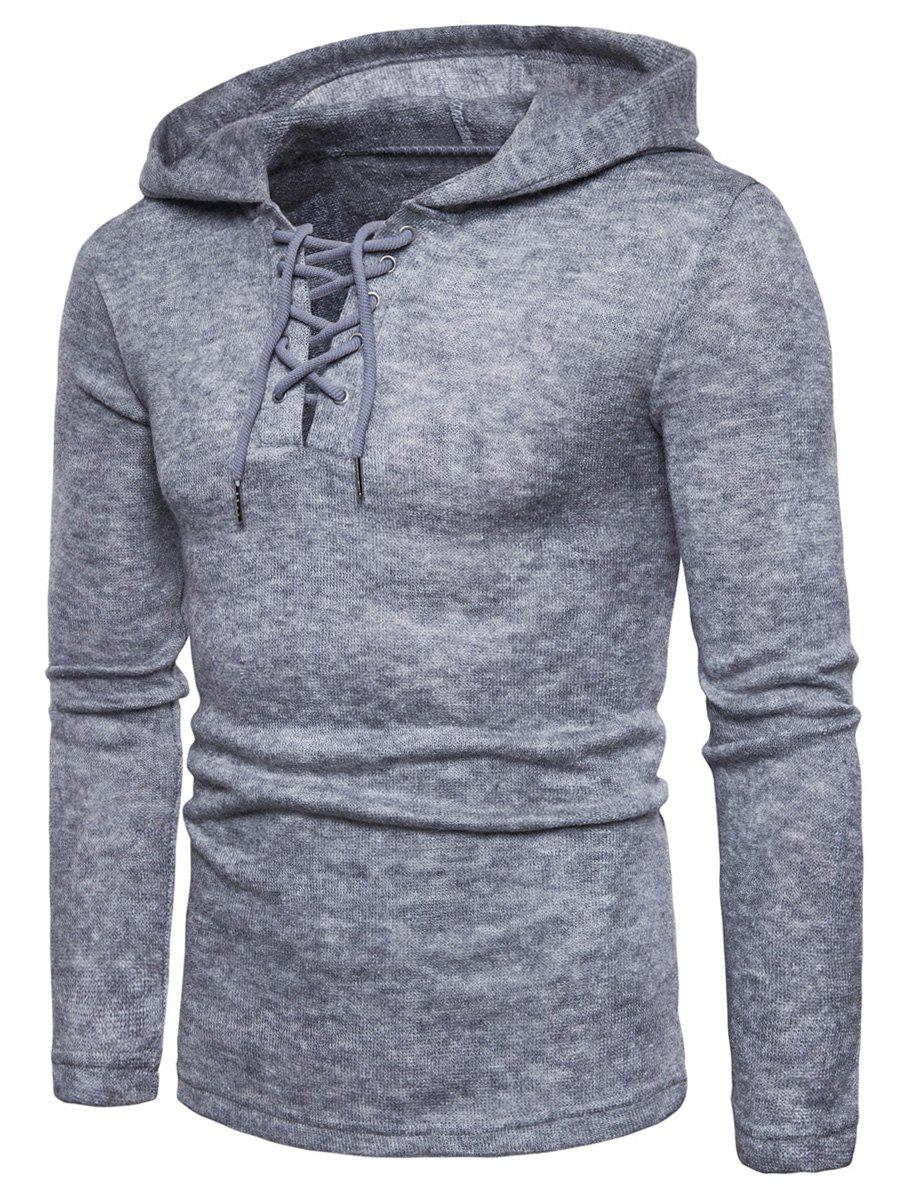 Hooded Lace Up Knitted Pullover Sweater - LIGHT GRAY M