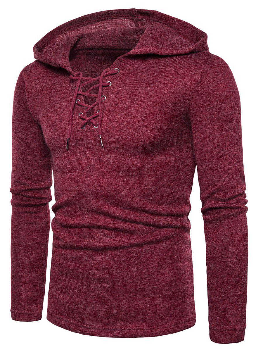 Hooded Lace Up Knitted Pullover Sweater - WINE RED 2XL