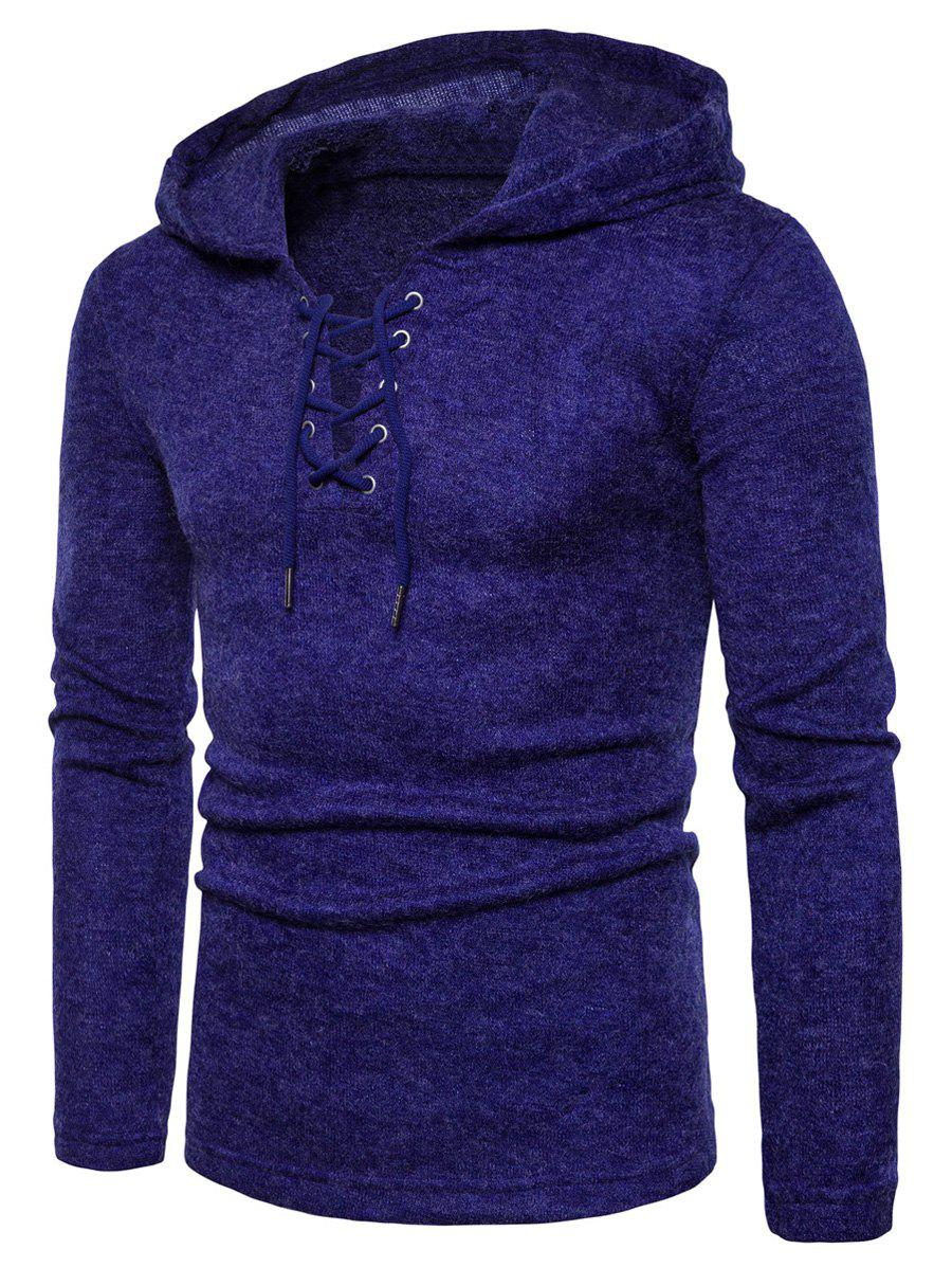 Hooded Lace Up Knitted Pullover Sweater - ROYAL M