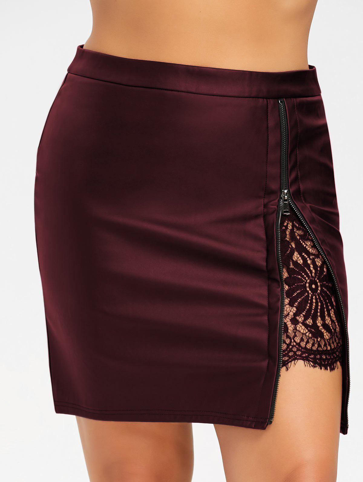 Plus Size Lace Insert PU Leather Skirt lace insert fitted faux leather skirt