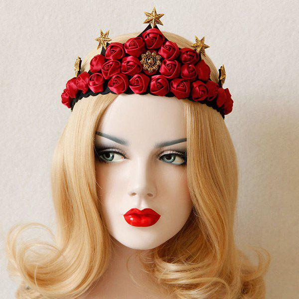 Hexagram Rose Flower Crown Elastic Hairband