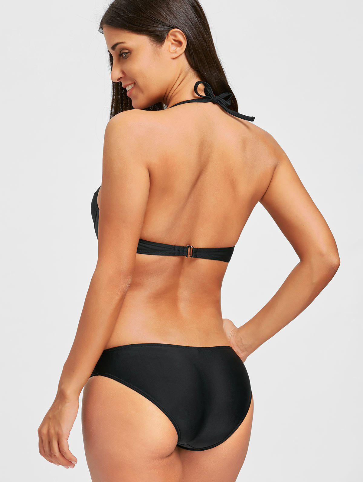 One Piece Backless Push Up Swimsuit - BLACK XL