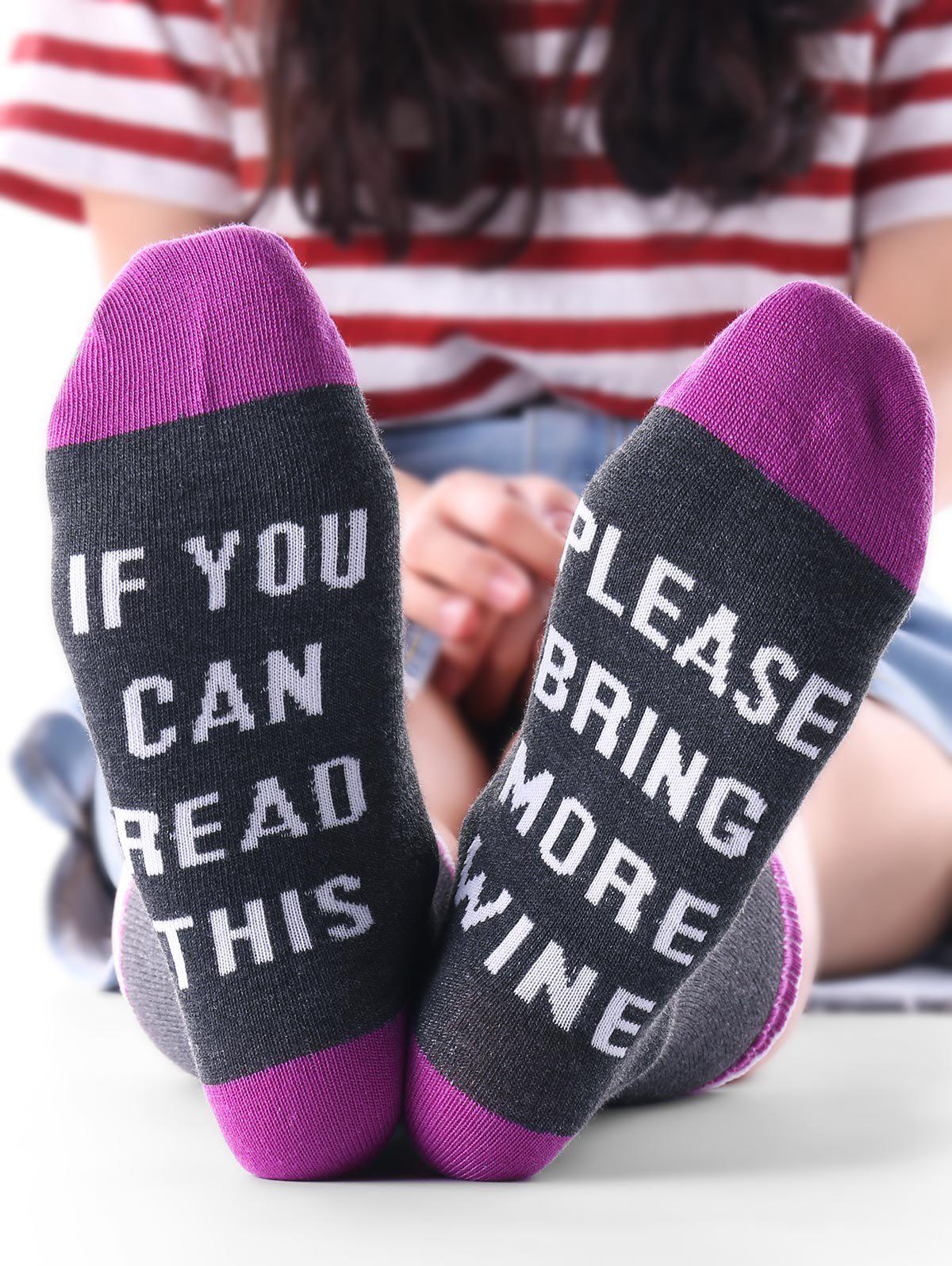 Letter Pattern Color Block Kintting Crew Socks - PURPLE