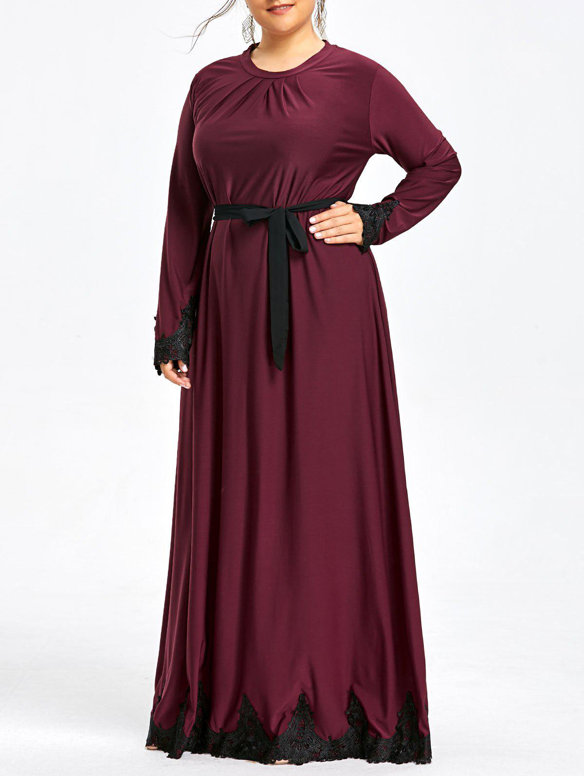 2018 Plus Size Lace Trim Long Sleeve Maxi Dress Burgundy Xl In