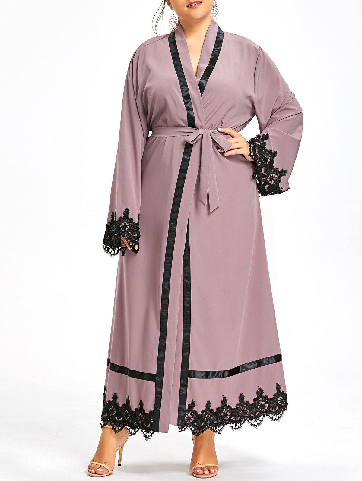 Plus Size Lace Trim Maxi Robe Coat with Belt - CAMEO XL