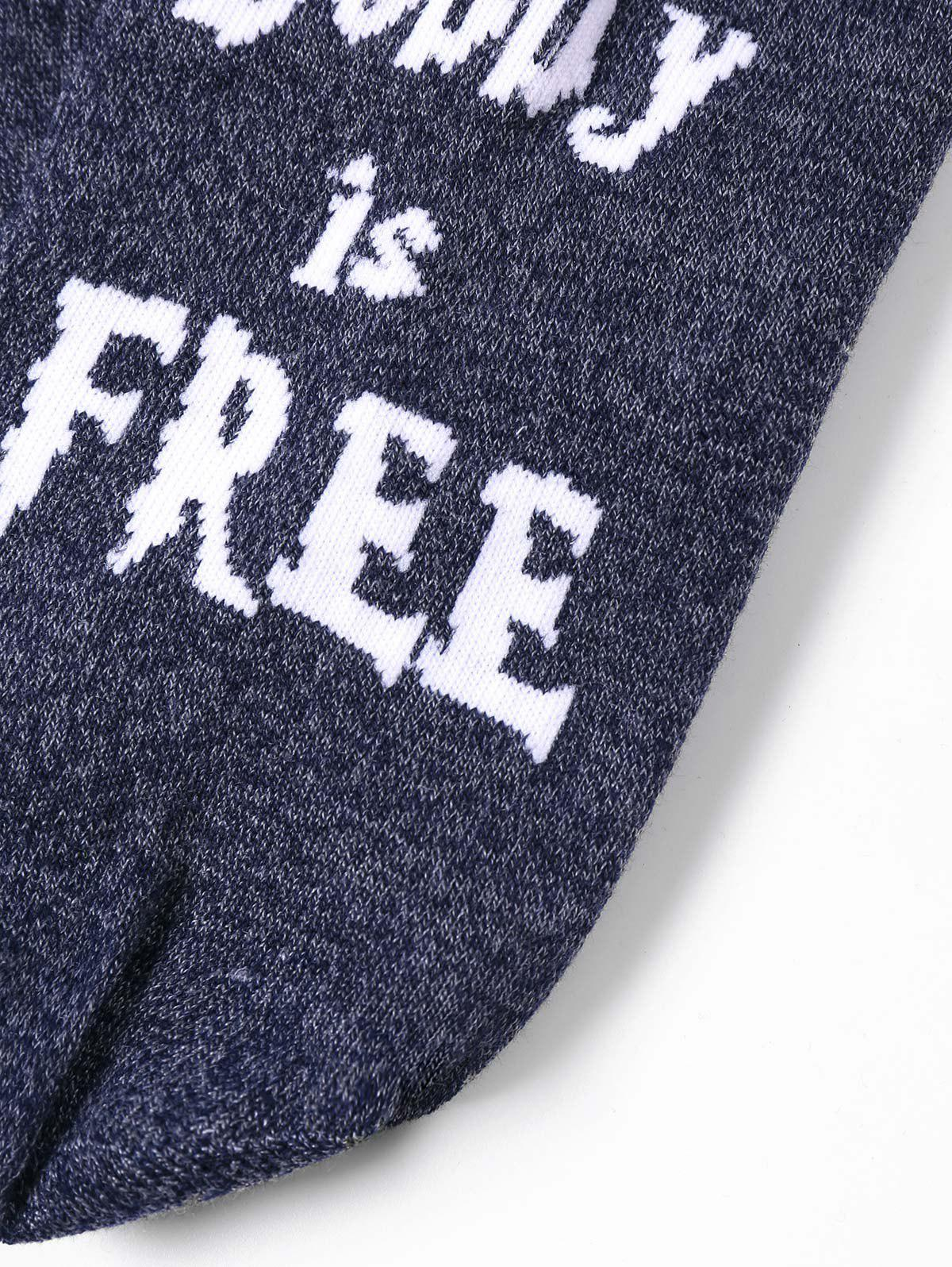 Letter Graphic Pattern Color Block Knitted Socks - COLORMIX