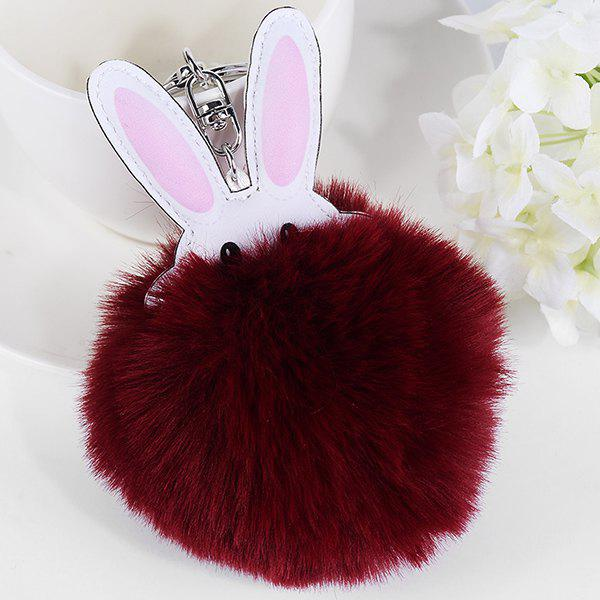 Cute Faux Leather Fuzzy Rabbit Keyring - WINE RED