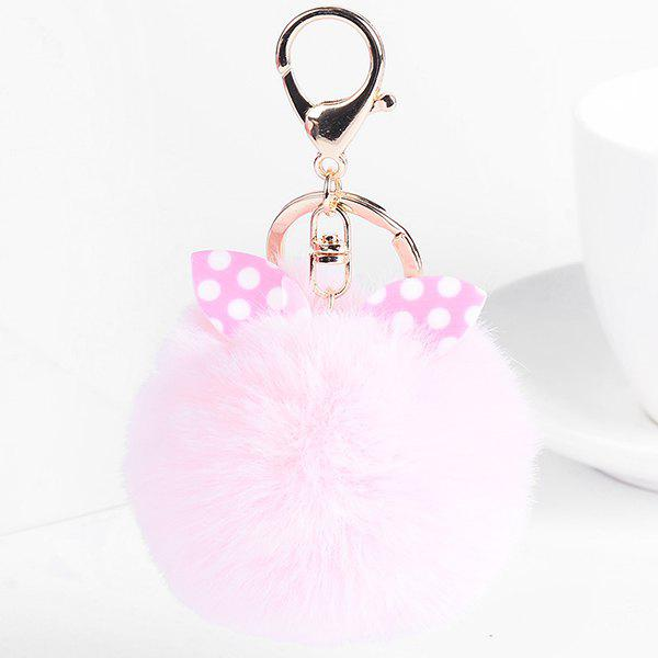 Cute Fuzzy Rabbit Ears Ball Keychain - PINK