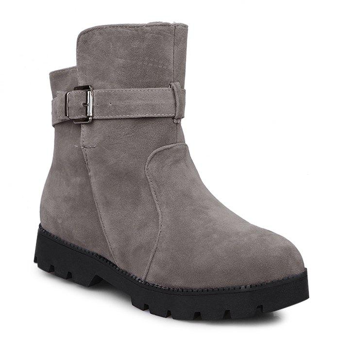 Low Heel Buckle Strap Short Boots winter cylinder boots low heel sleeves cotton boots