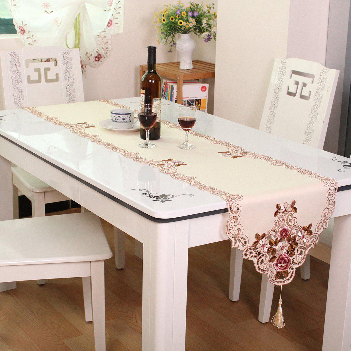 Satin Embroidered Home Decor Floral Table Runner