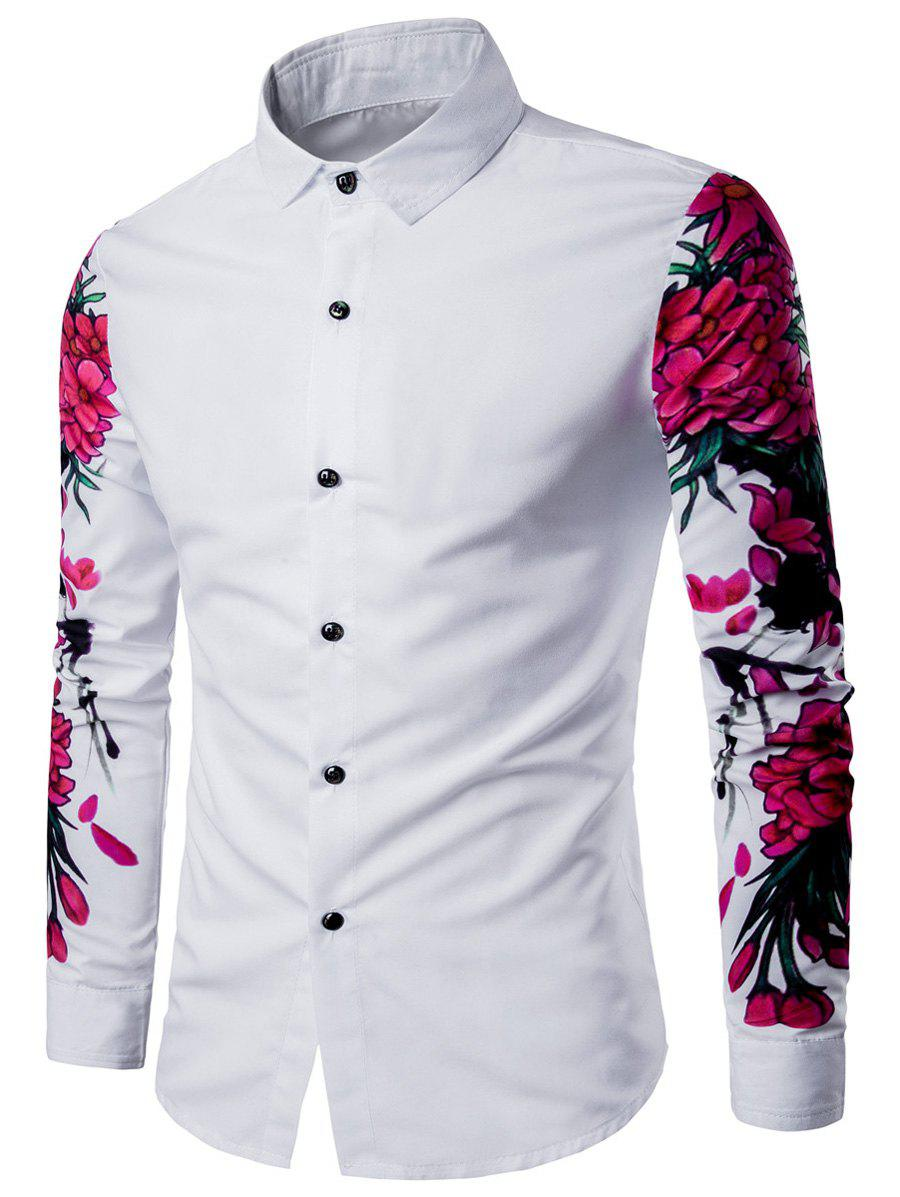 3D Flowers Print Long Sleeve Shirt - WHITE L