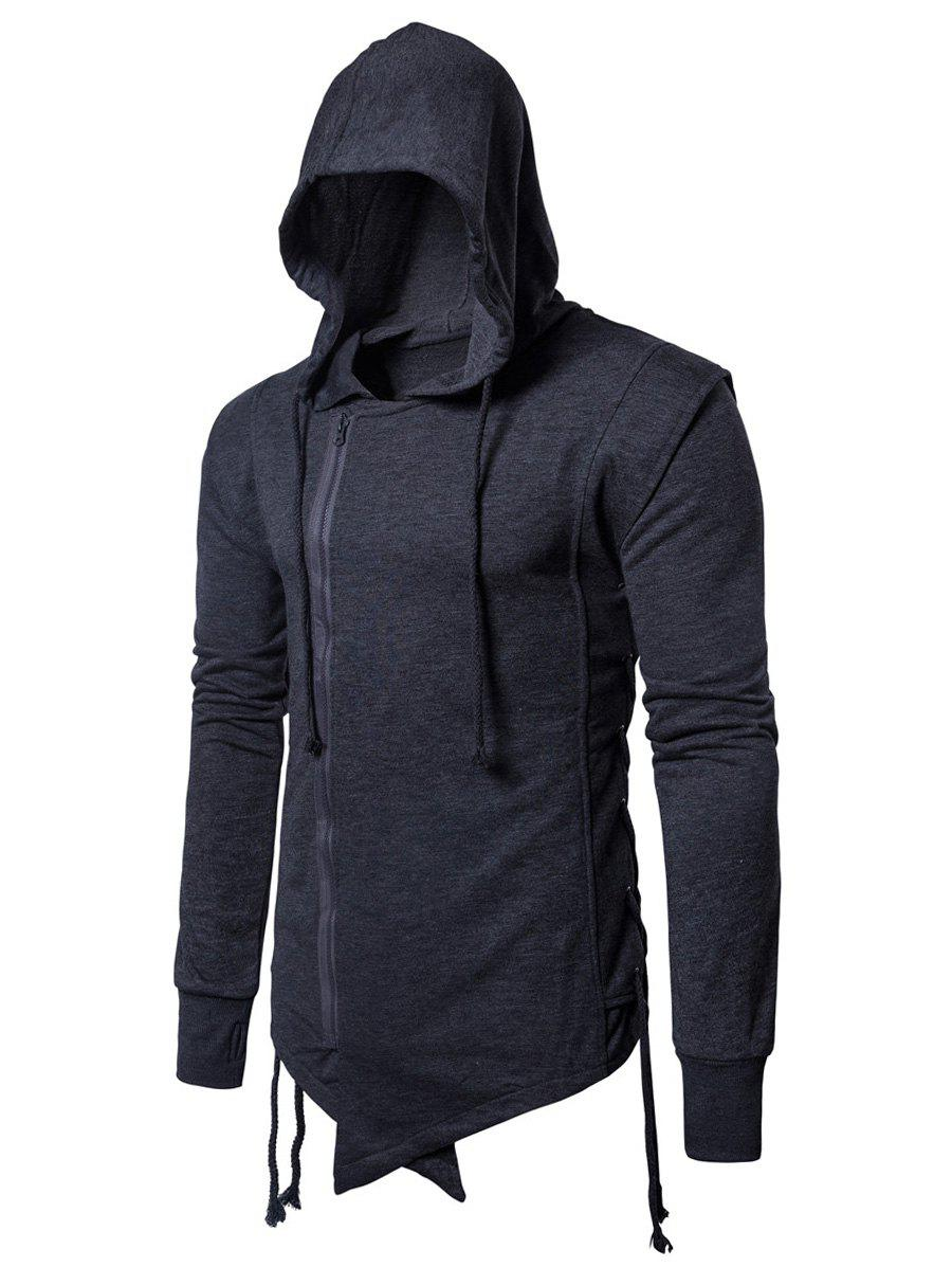 Side Lace Up Asymmetric Zip Up Hoodie - DEEP GRAY L