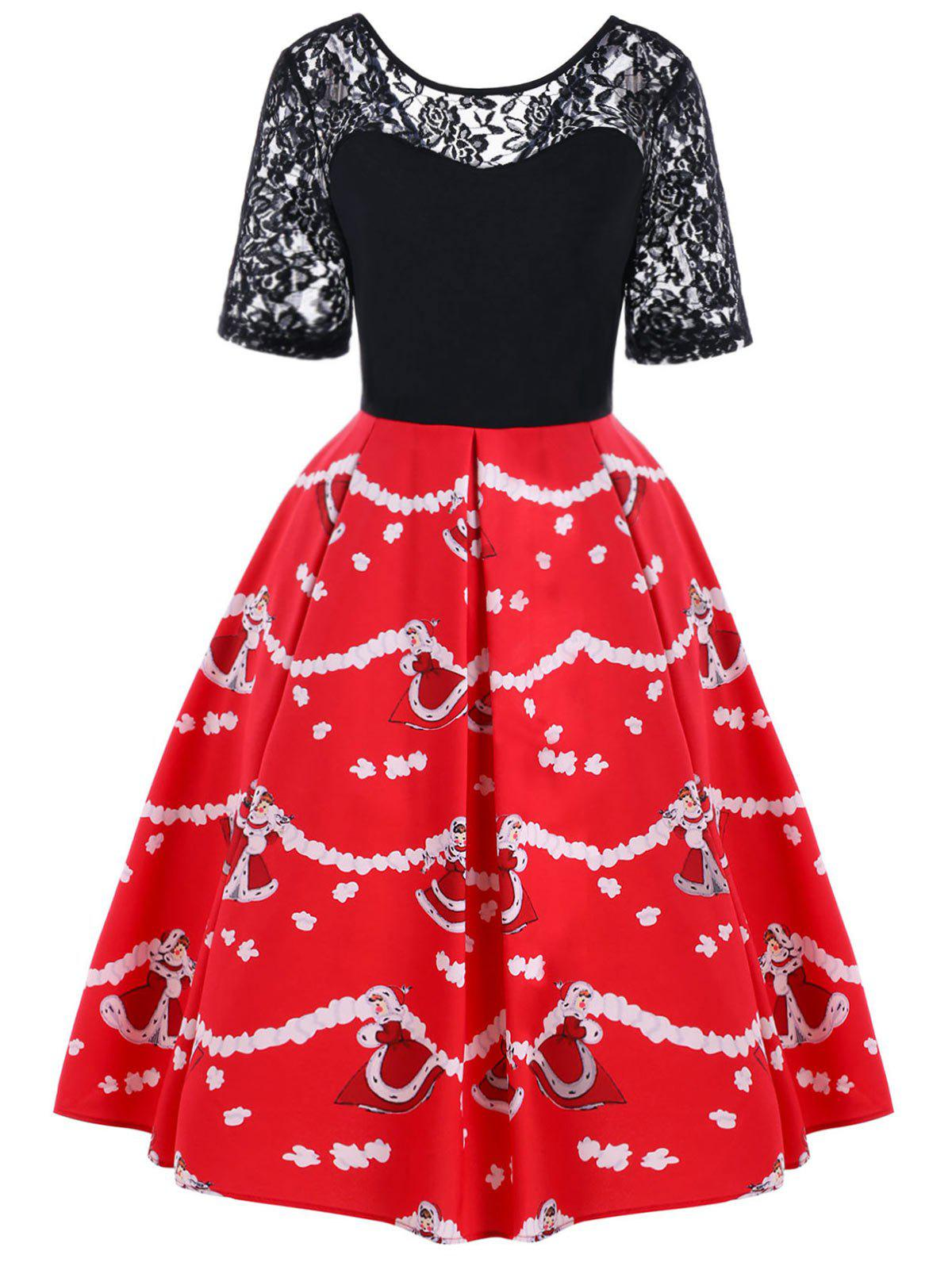 Christmas Lace Yoke Knee Length Swing Dress - BLACK/RED L