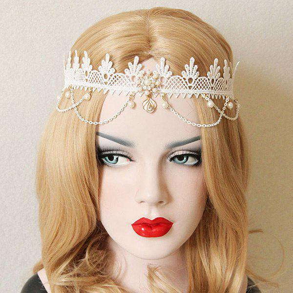 Faux Pearl Forehead Elastic Lace Hairband - WHITE