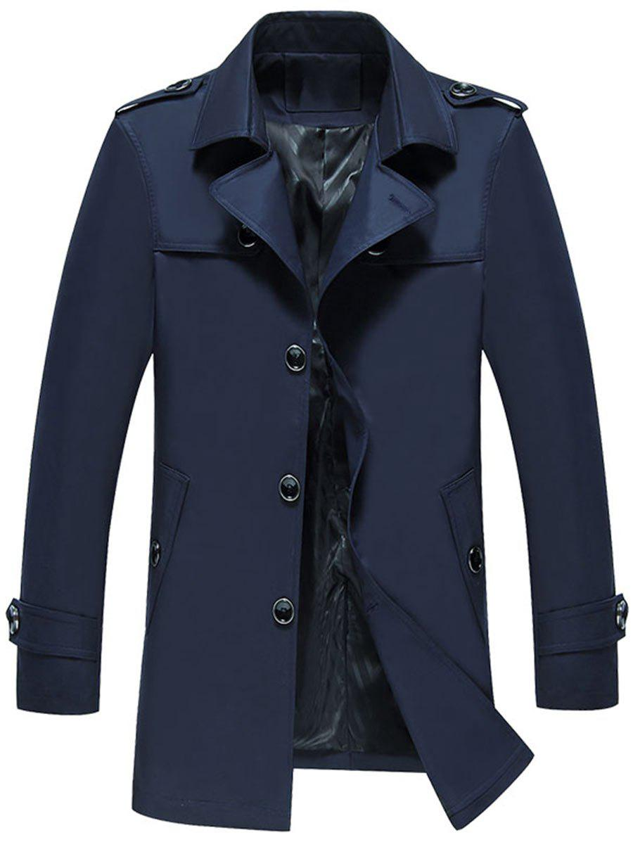 Single Breasted Epaulet Trench Jacket - PURPLISH BLUE XL