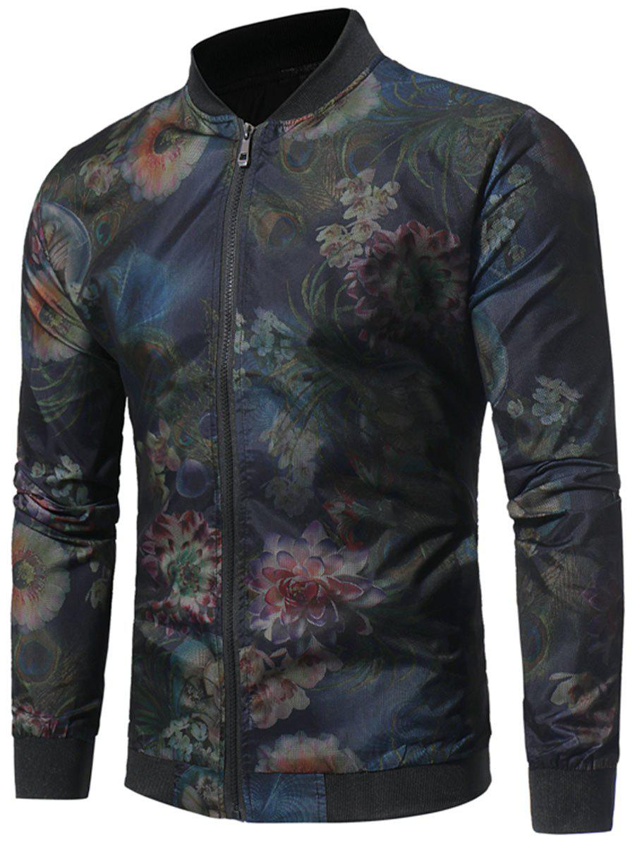 Zip Up Mesh Surface Floral Bomber Jacket - BLACK L