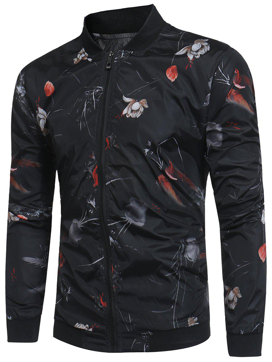 Lotus Flower Pattern Lightweight Bomber Jacket