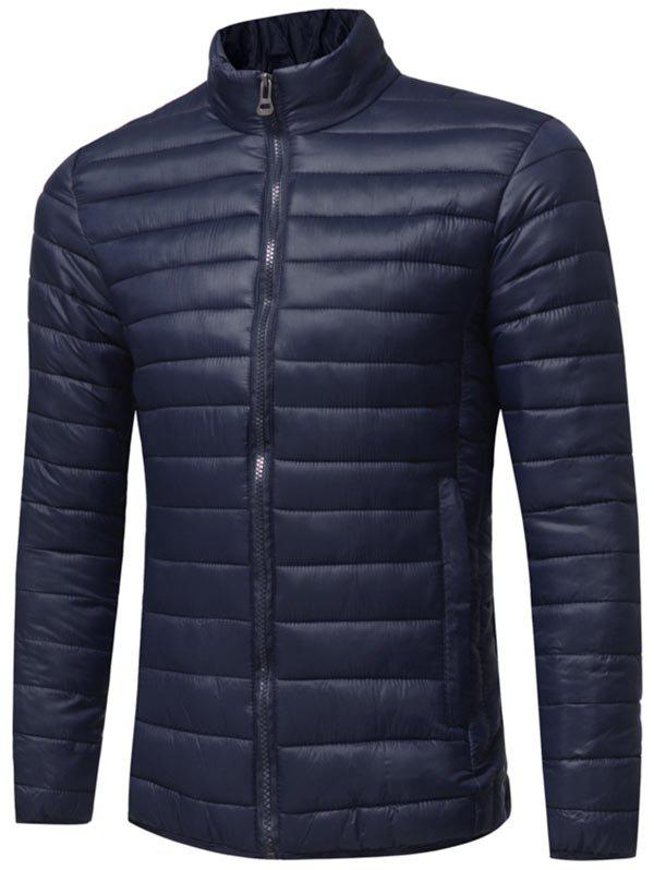 Zipper Up Classic Down Jacket - PURPLISH BLUE 2XL