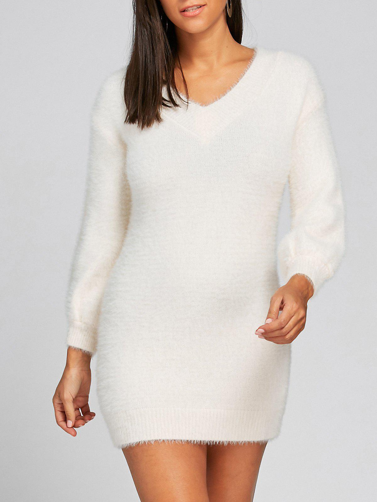 купить Drop Shoulder Furry V Neck Sweater Dress дешево