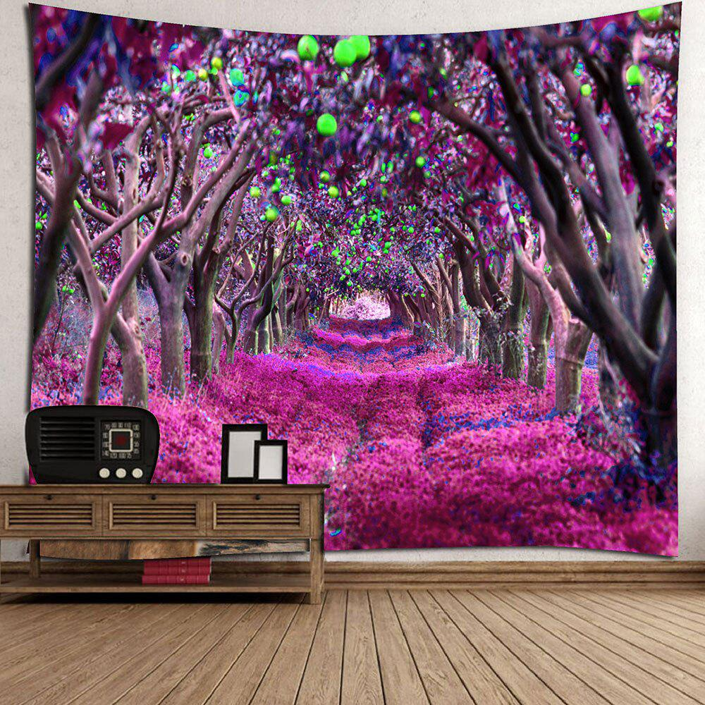 Forest Flower Path Way Print Wall Art Tapestry - PURPLE W79 INCH * L71 INCH