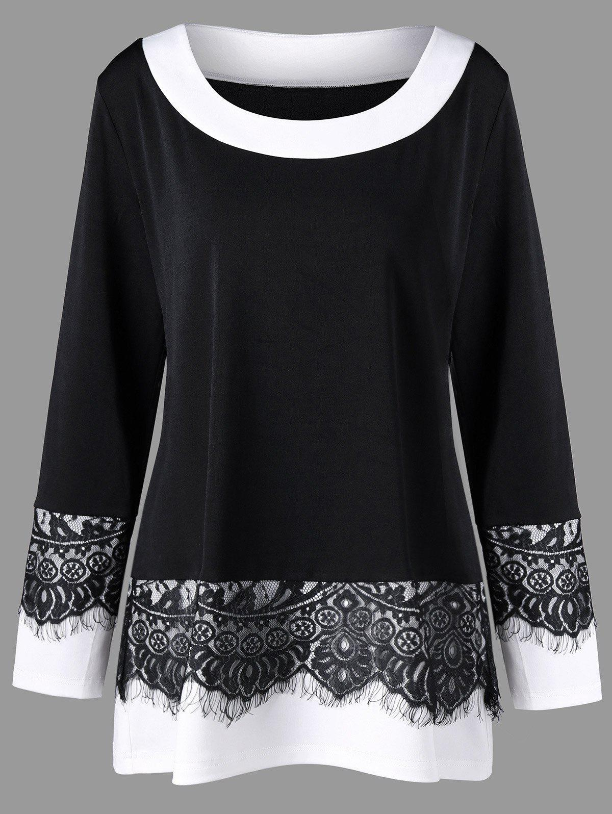 Plus Size Eyelash Lace Trim Two Tone Top contrast embroidered two tone plush top