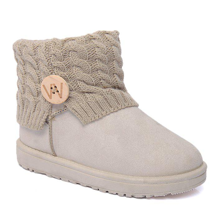 Button Letter Snow Boots