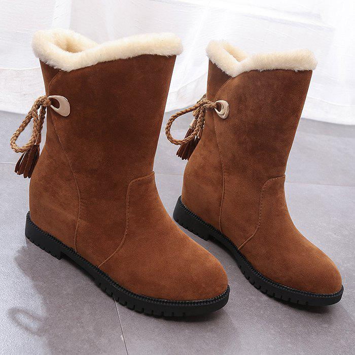Tassels Low Heel Snow Boots winter cylinder boots low heel sleeves cotton boots