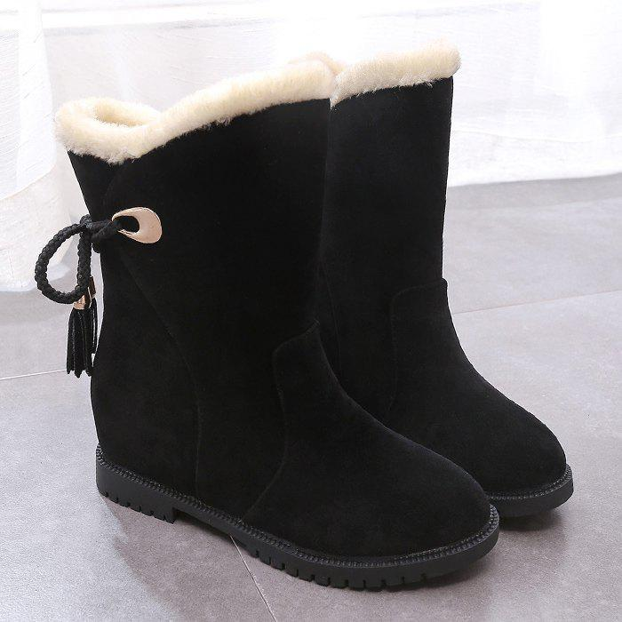 Tassels Low Heel Snow Boots - BLACK 40