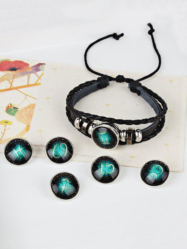 Vintage Twelve Constellations Bolo tresse bracelet en corde - Cancer