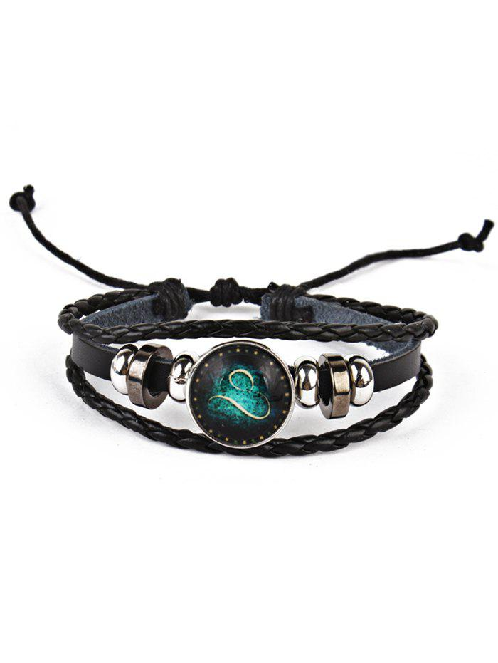 Vintage Twelve Constellations Bolo Braid Rope Bracelet - LEO