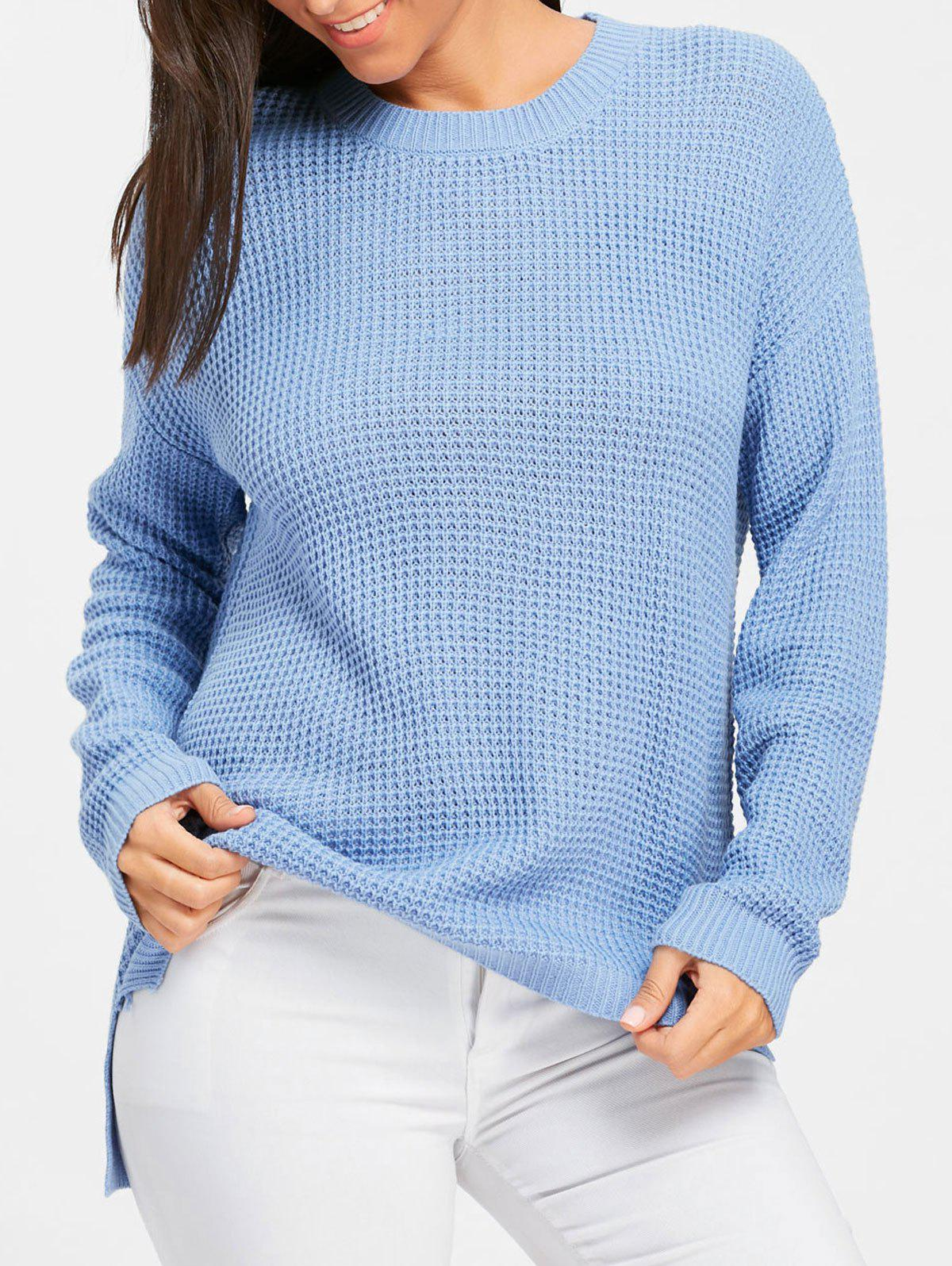 High Low Crew Neck Tunic Sweater - WINDSOR BLUE ONE SIZE