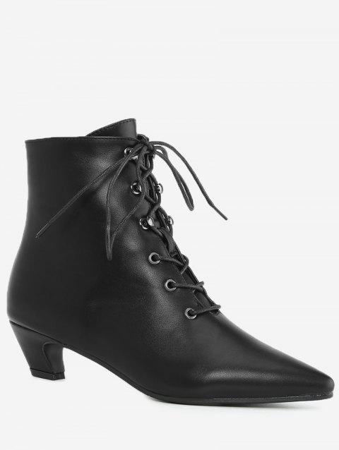 Tie Up Pointed Toe Ankle Boots - BLACK 36