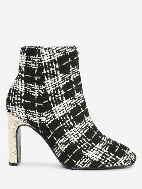 Plaid Color Block Ankle Boots - BLACK WHITE 35
