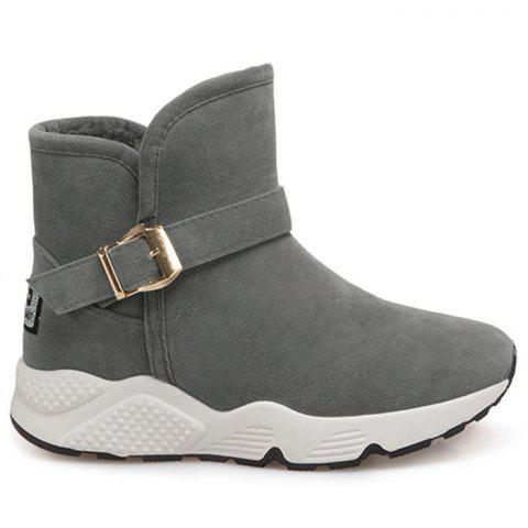 Buckle Strap Snow Boots - GRAY 38
