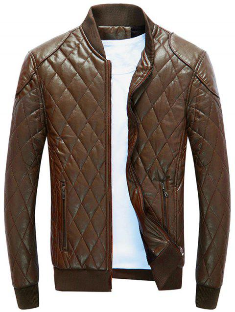 Casual Diamond Pattern Faux Leather Bomber Jacket - BROWN M