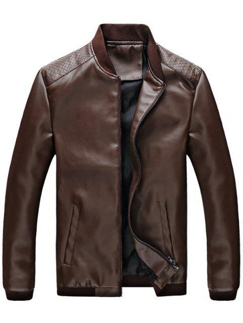 Zip Up Casual PU Leather Bomber Jacket - COFFEE 2XL