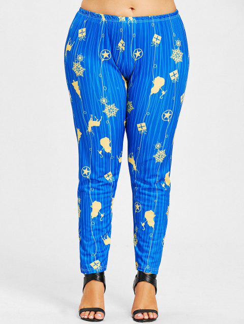 Christmas Snowflake Star Plus Size Leggings - BLUE XL
